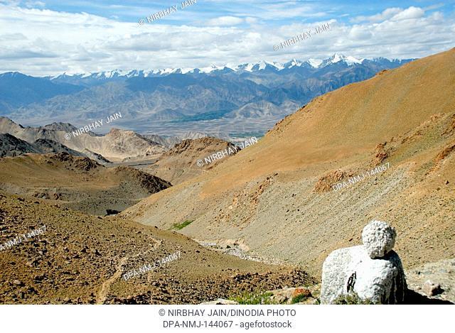 Brown desert mountain view at Leh ; Ladakh ; Jammu & Kashmir ; India