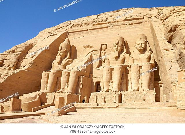 Abu Simbel, Egypt - the entrance to the Ramses II Great Temple, Abu Simbel temple complex located on the Nasser Lake, Lower Nubia, Egypt, UNESCO
