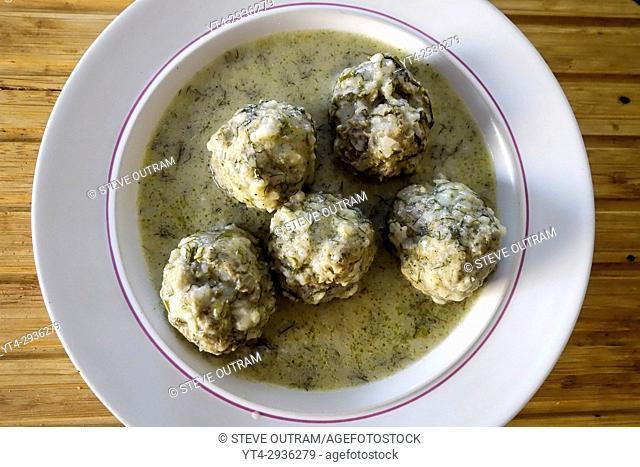 Greek Cuisine. Meatball Soup, Youvarlakia