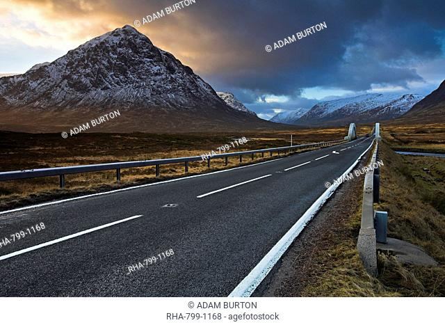 The A82 passing Buachaille Etive Mor as it winds through Rannoch Moor towards Glen Coe, Highland, Scotland, United Kingdom, Europe