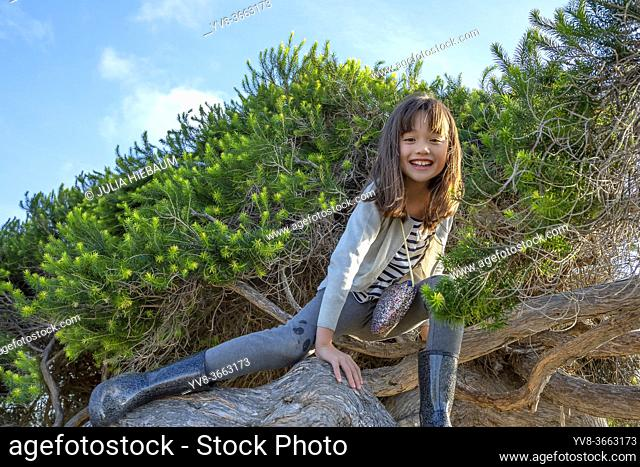 EIght year old girl climbing a tree in San Diego, California