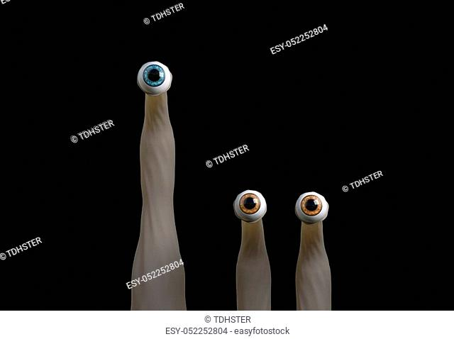 funny cartoon creatures eyes looking at you 3d render