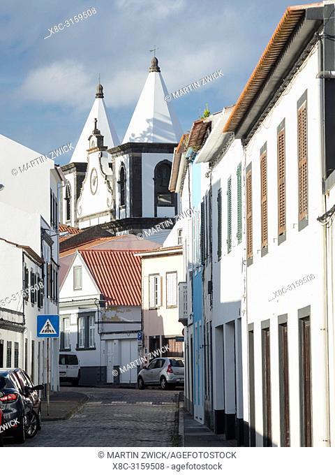 Church Igreja de Nossa Senhora das Angustias. Horta, the main town on Faial. Faial Island, an island in the Azores (Ilhas dos Acores) in the Atlantic ocean
