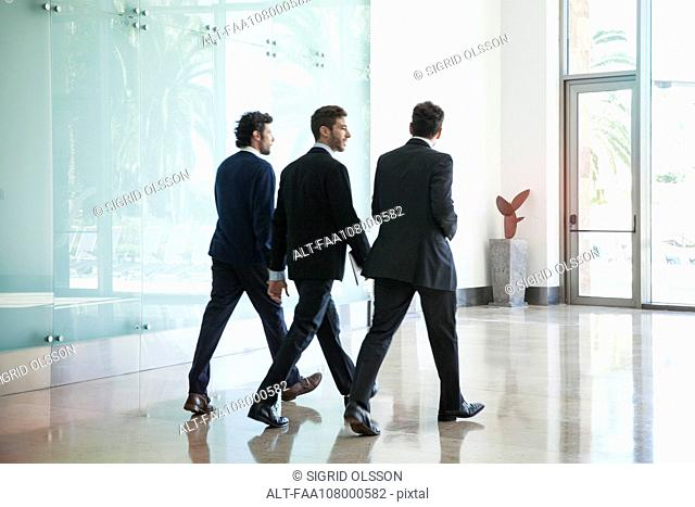 Business associates chatting while walking together