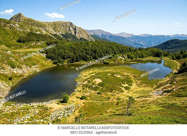 lake and landscape of the abetone mountains, pistoia, tuscany, italy