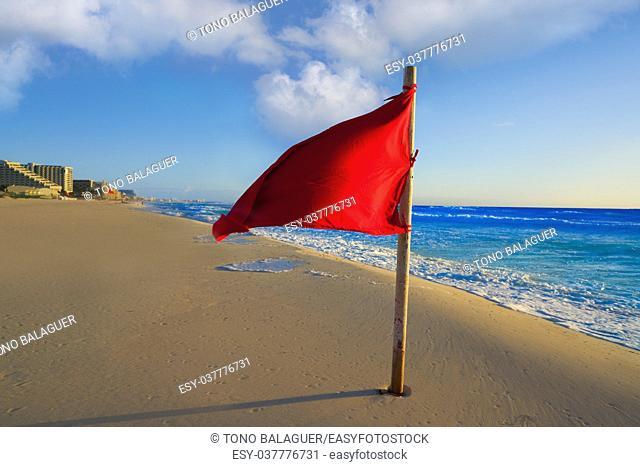 Cancun Delfines Beach red flag in Mexico Hotel Zone