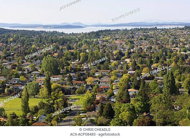 View across residential areas from Mt  Tolmie, Victoria, Vancouver Island, Britsh Columbia, Canada