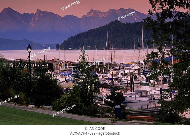 Gibsons Harbour in evening, Sunshine Coast, British Columbia, Canada