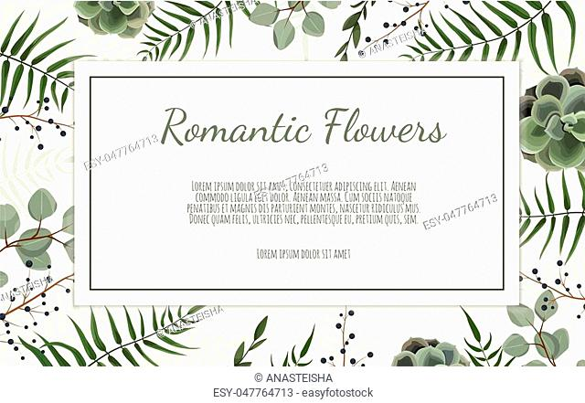 Card with leaves and flowers. Floral poster. Floral poster, invite. Vector decorative greeting card, invitation design background