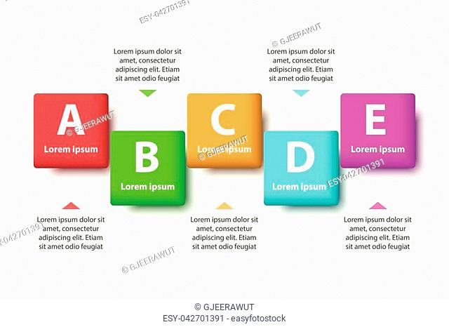 Five topics Colorful 3D paper square on sequence for website presentation cover poster vector design infographic illustration concept