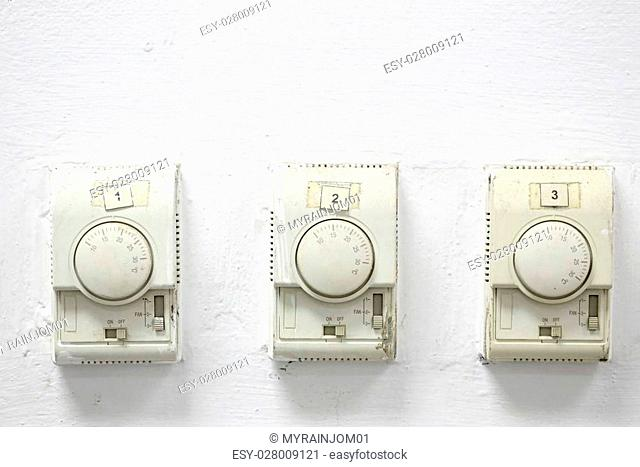 Temperature switch on white background