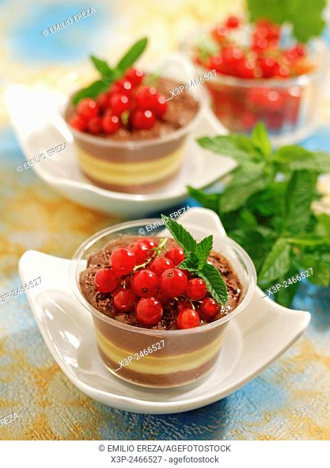Chocolate mousse with apple and red currants