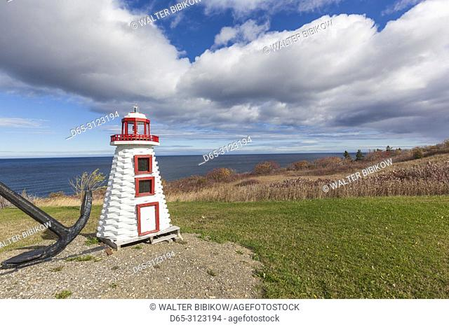 Canada, Quebec, Gaspe Peninsula, L'Anse-au-Griffon, miniature lighthouse