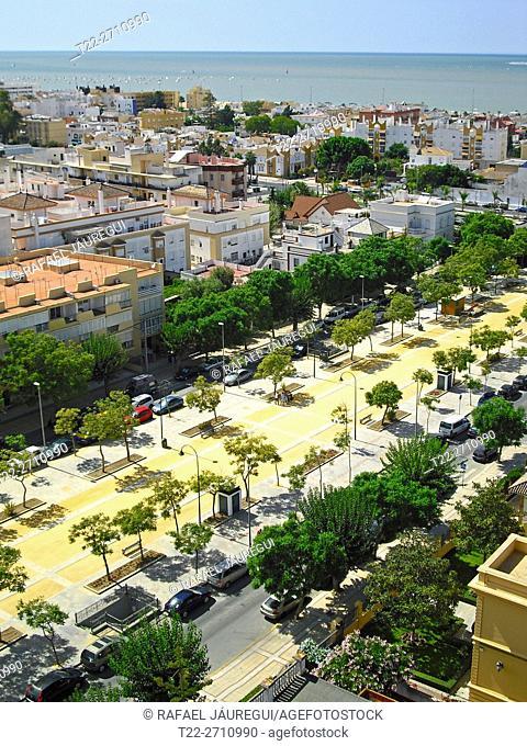 Sanlucar de Barrameda (Cádiz) Spain. Calzada Duchess Elizabeth Avenue in Sanlucar de Barrameda