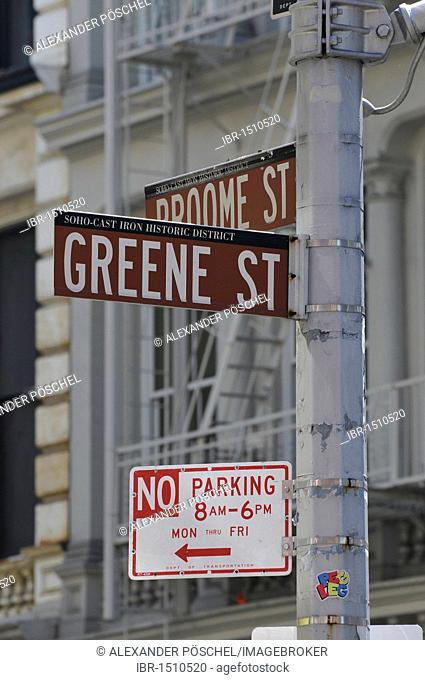 Road signs at intersection, corner of Spring Street and Broome Street, Greenwich Village, New York City, New York, North America, USA