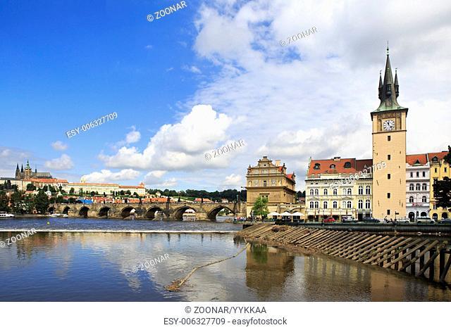 Charles Bridge and Old water tower in Prague