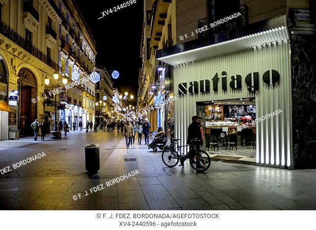 Alfonso I street by Night, Saragossa, Spain