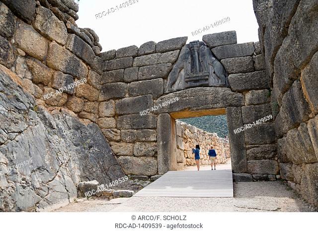Lion Gate, Mycenae, Argolis, Peloponnese, Greece