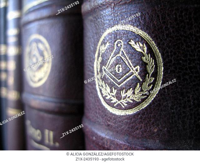 Close up Mason symbol in antique book