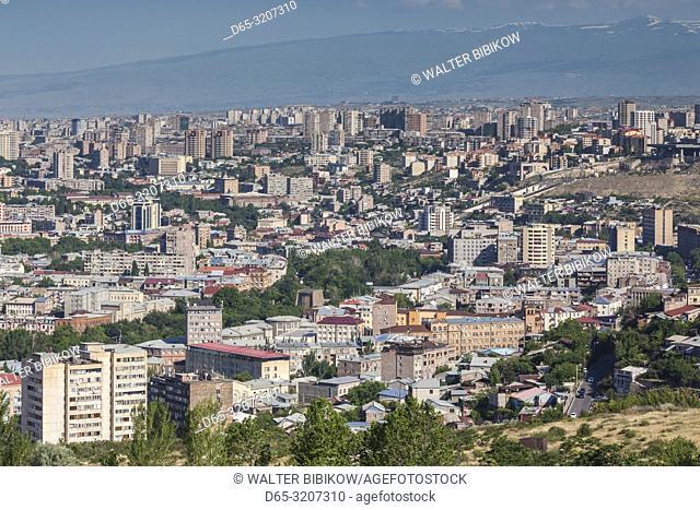 Armenia, Yerevan, high angle city skyline from the east