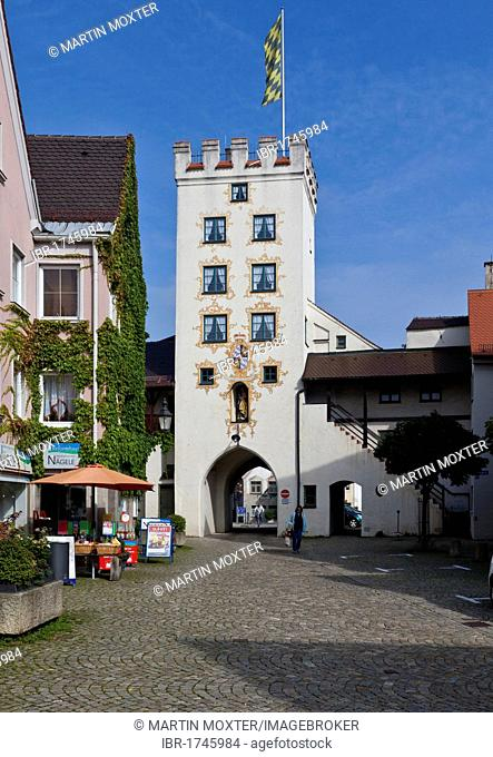Historic town centre looking towards the Westernach Gate, Mindelheim, Swabia, Unterallgaeu district, Bavaria, Germany, Europe
