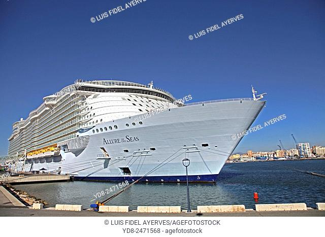 Allure of the Seas, Royal Caribbean Cruise ship docked in the port of Malaga, Spain
