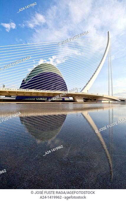 Spain, Valencia Comunity, Valencia City, The City of Arts and Science built by Calatrava, Assut del Or Bridge and Agora Bldg