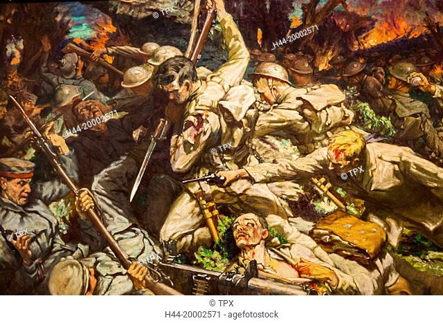 Wales, Cardiff, National Museum Cardiff, Painting showing The Charge of the Welsh Division at Mametz Wood by Christopher Williams dated 1917