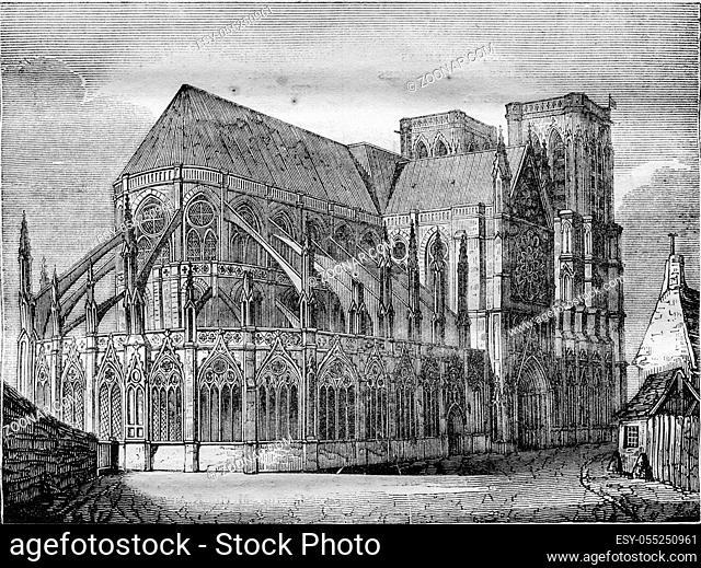 Notre Dame de Paris, vintage engraved illustration. Magasin Pittoresque 1836