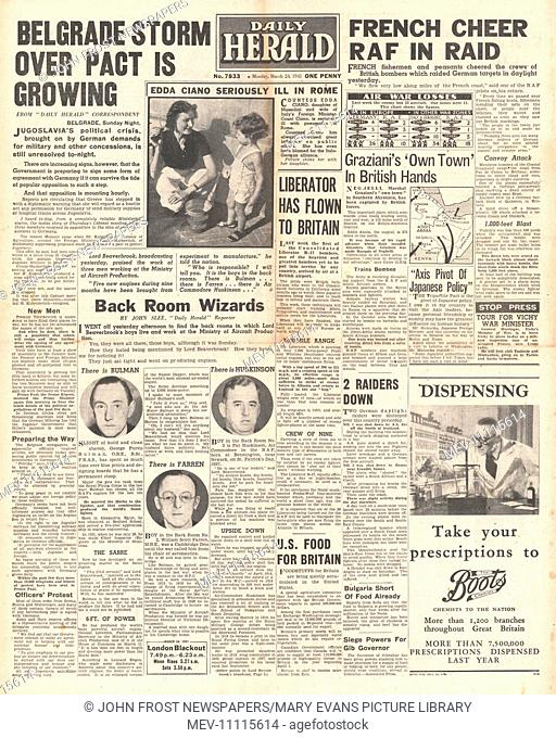 1941 front page Daily Herald Engineers behind the RAF and Britain,Yugoslavia political crisis, RAF bomb French coast and Edda Ciano seriously ill in Rome