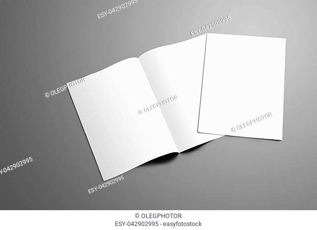 Concept mockup with two blank A4, (A5) bi-fold brochure with soft shadows isolated on gray background. One booklet is closed and lie on open on the spread