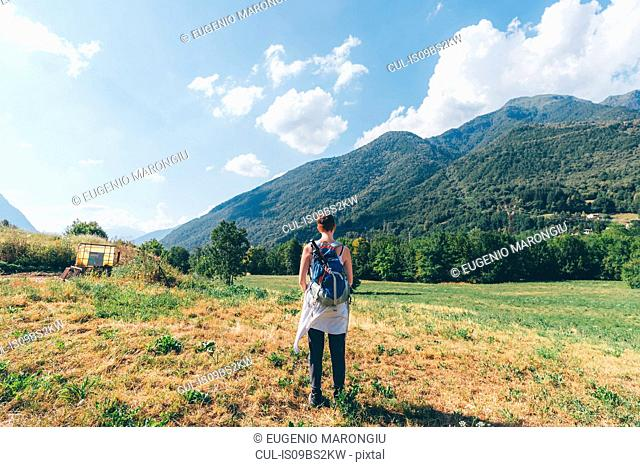 Young female hiker looking towards mountains, rear view, Primaluna, Trentino-Alto Adige, Italy