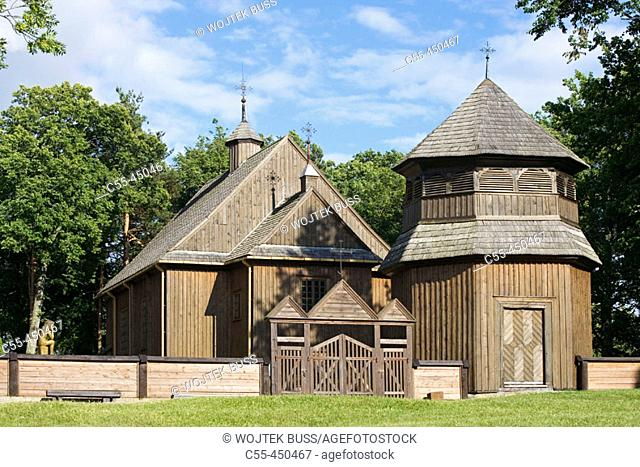 Wooden church and belle, Paluse. Aukstaitija National Park, Lithuania