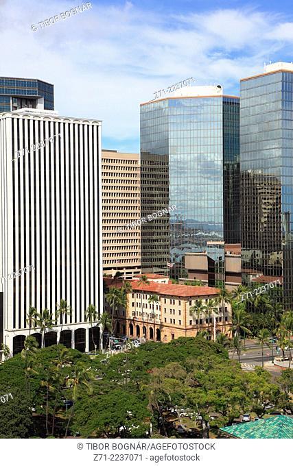 Hawaii, Oahu, Honolulu, skyline, skyscrapers,