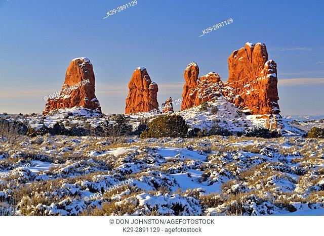 Sandstone spires in winter, Arches National Park, Utah, USA