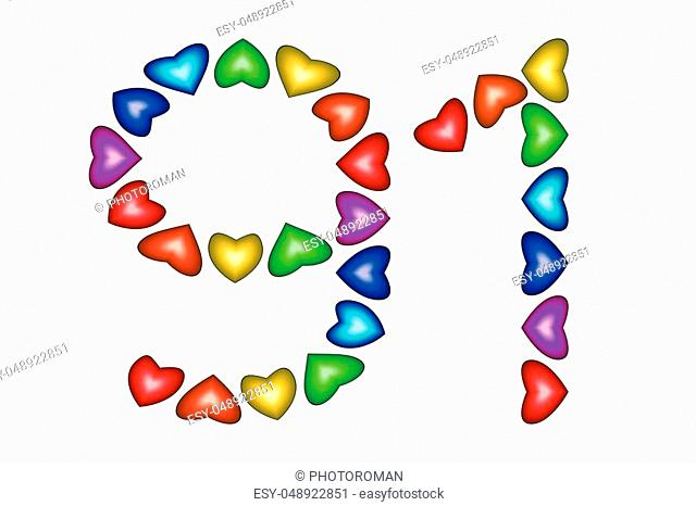 Number 91 of colorful hearts on white. Symbol for happy birthday, event, invitation, greeting card, award, ceremony. Holiday anniversary sign