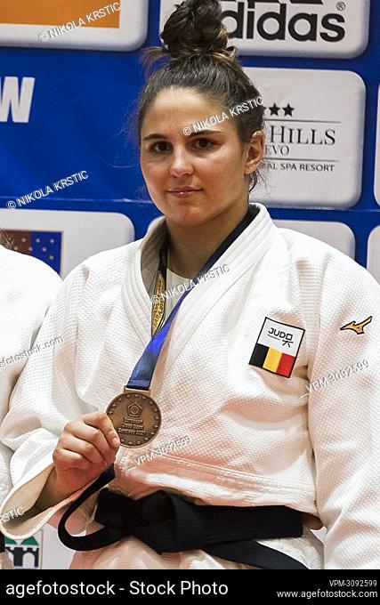 Belgian Maxine Heyns celebrates with the bronze medal of the women's -70kg series at the European Judo Open in Sarajevo, Bosnia and Herzegovina
