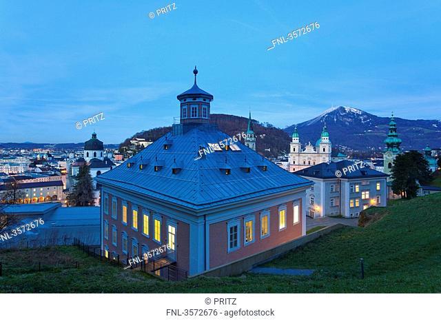 Old town with Stefan Zweig Centre und Edith Stein Haus, Salzburg, Austria