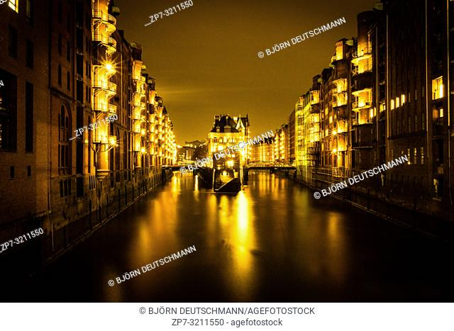 Moated Castle, Speicherstadt Hamburg, Germany at Night