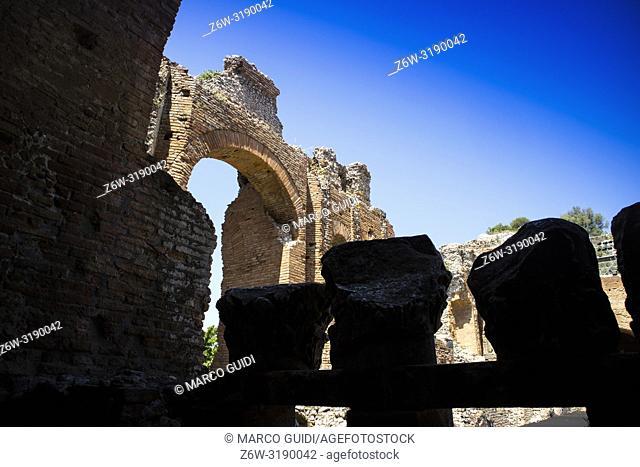 Remains of the ancient Roman theater near Taormina Italy
