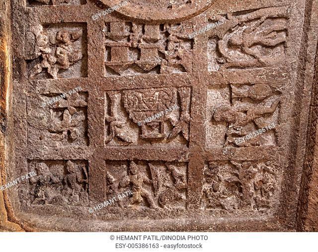 Scenes from Kiratarjuniyam on ceiling of cave number nineteen in Panhale Kazi caves ; Konkan ; Maharashtra ; India