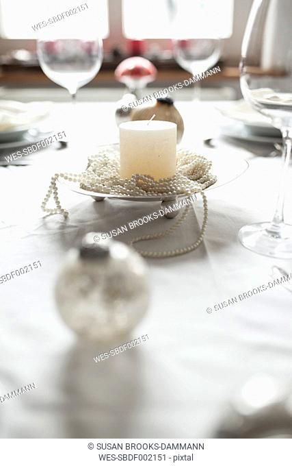 Festive laid table at Christmas time