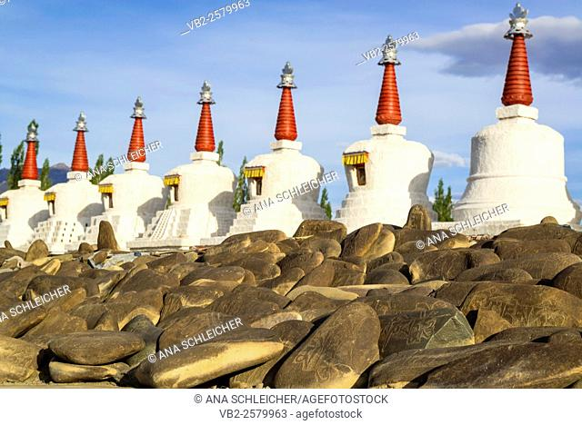 Red spire stupas by Thicksay gompa, Ladakh, India