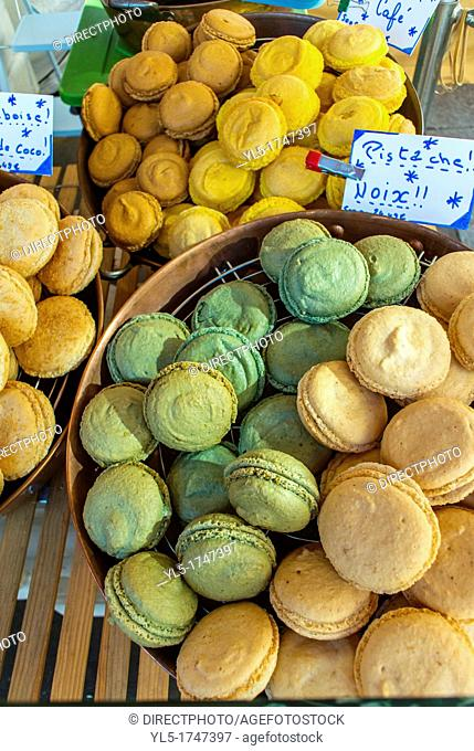 Paris, France, Shopping, in the French Bakery, French Food, Pubic Market, with Local Products, Gluten-Free, Macaroons, on Display