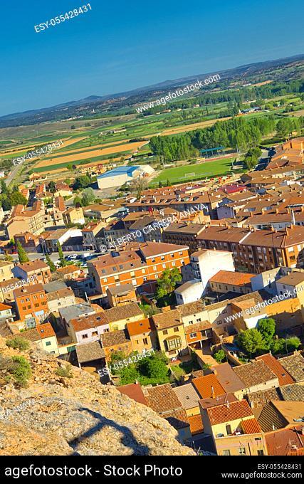Town View from Cave Traditional Wineries, San Esteban de Gormaz, Soria, Castilla y León, Spain, Europe