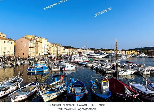 Europe, France, Var, Saint-Tropez. The port at dusk