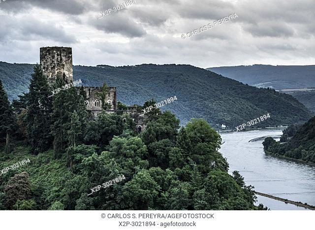 Gutenfels Castle near Kaub, Rhineland-Palatinate, Germany, Europe
