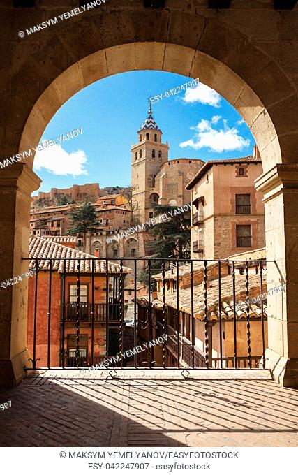 Albarracin, Aragon, Spain. Framed view of medieval city Albarracin in december