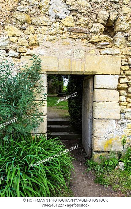 Decaying passageway on the grounds of the Château de Montrésor (Montrésor Castle), Indre-et-Loire, France, Europe