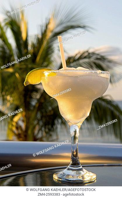 A margarita drink in Playa del Carmen on the east coast of the Yucatán Peninsula on the Caribbean Sea in the state of Quintana Roo, Mexico